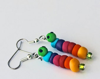 Love Bugs Valentine Earrings Rainbow Caterpillar Hook Earrings Hypoallergenic Surgical Steel Hooks FIMO Clay jewelry HANDMADE in USA