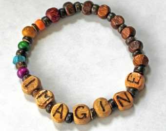 Beatles inspired IMAGINE Rainbow wood bracelet Hand burnished or pyrography Dark Wood