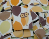 Mosaic Tiles Orange Yellow Retro OWL Bird Broken China Plate Art Supply
