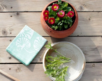 mint green linen lilypad tea towel.