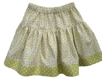 Girls SKIRT - ELEPHANT & POLKADOTS - Girls Twirly Skirt - Limeade - size  S M L