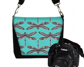 CLEARANCE Small Dslr Camera Bag Purse Womens Mini Camera Bag Case Messenger Turquoise Dragonfly blue white black RTS