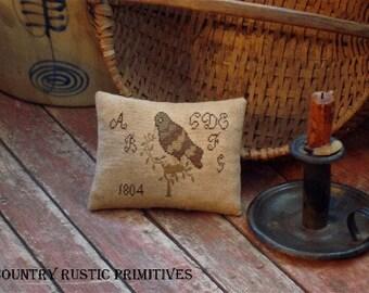 Primitive Bird On Branch Pillow Tuck Cross Stitch E Pattern PDF