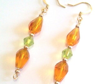 Faceted Amber Glass and Gold Bead Dangle Earrings, Sparkling Handmade Beaded Jewelry
