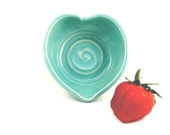 Heart Trinket Bowl in Aqua Blue - Ceramic jewelry dish, Ring Dish, Bridesmaid keepsake gift - wedding favors, decorations, ring bearer bowl