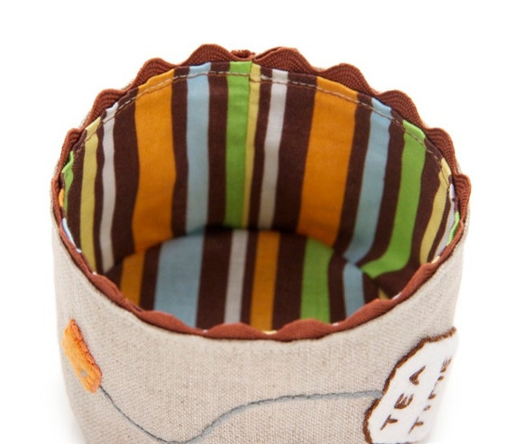 Small Fabric Basket, Tea Time, Hand Embroidered, Earthtone Stripes, Linen Basket, Tea Accessory, Little Storage Basket