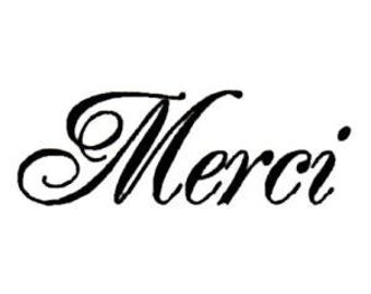 Merci unmounted rubber stamp, French thank you, No.21