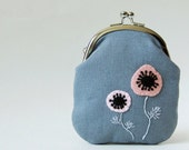 Tall coin purse - pink anemones on gray linen