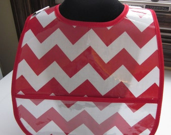 WATERPROOF WIPEABLE Baby to Toddler Wipeable Plastic Coated Bib Red and White Chevron
