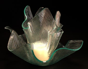 Vase Candle Set - Clear Chord Draped Glass Vase and Dish with Free Spring Rain Soy Paraffin Wax Blend, Paper Core, Self-trimming Wick Candle