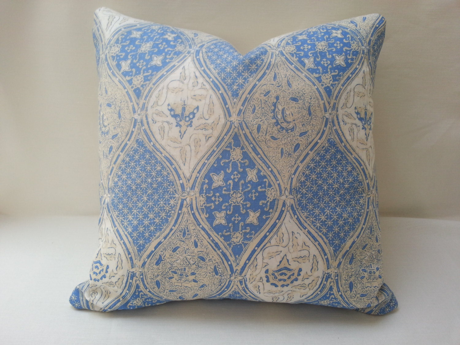 Queen Throw Pillows : 20 Quadrille Balinese Batik China Seas Linen Pillow by FLairworks