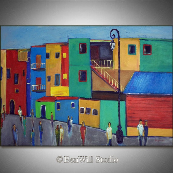 Buenos Aires LARGE Colorful Painting ORIGINAL Modern Art - Argentina - Yellow Teal Blue City Art on Large Canvas 40x28 - Pop Art by BenWill