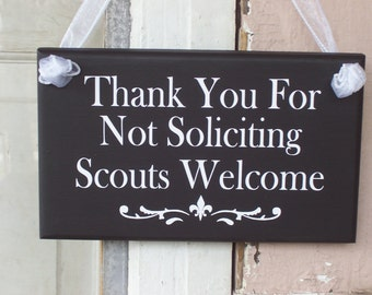 Thank You For Not Soliciting Scouts Boy Girl Welcome Wood Vinyl Sign Kid Child Do Not Disturb Unless Mints Home Wreath Entry Door Wall Decor