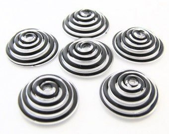 Black Swirl Lampwork Glass Bead Caps-Set of 6