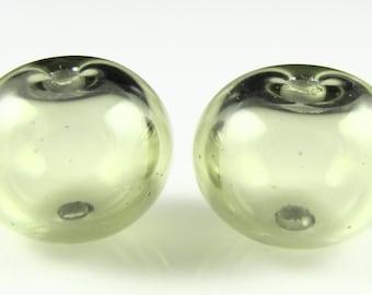 Regular Hollow SALE - Mojito Green Lampwork Glass Bead Pairs