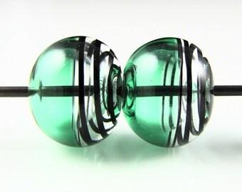 Emerald and Black Swirls Lampwork Glass Bead Pairs