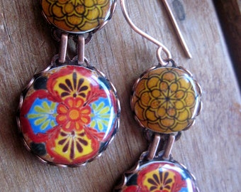Colorful statement earrings, Native jewelry, Mexican jewelry, Southwestern, International fashion, Folk art, drop earrings,  Talavera, MTO