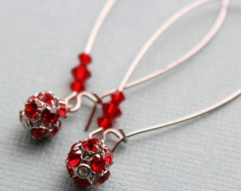 Silver and Red Crystal Earrings - Swarovski - Kidney Earwires