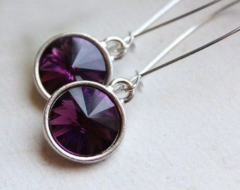 Swarovski Rivoli Earrings - Silver Plated - Kidney Earwires - Bridal Party - Bridesmaids