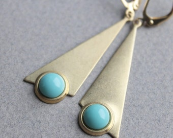 Brass & Vintage Glass Earrings - Your Choice of Aqua or Coral - Gold Plated Leverback Earwires