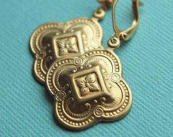 Brass Quatrefoil Earrings - Gold Plated Leverback Earwires