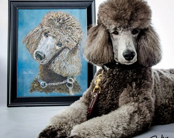 Custom Pet Portraits - Poodle Dog Portraits from your Photos - Portraits by NC