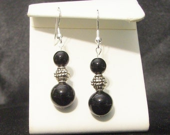 Black Onyx and Silver Dangle Earrings
