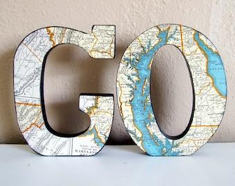 GO vintage map letters Maryland/Delaware