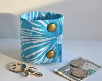 "Money Wrist  Cuff - ""Secret Stash""- ""Blue Hawaii"" ""  hide your cash, key, jewels,  health info, in a hidden inside zipper"