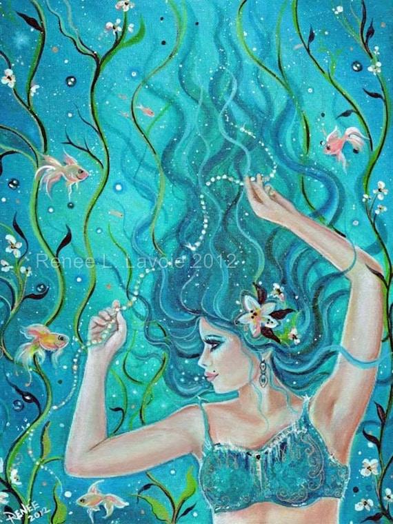 Aceo print 2.5x3.5inches Maya tropical Fantasy mermaid by Renee