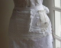 Full  Lace Apron Bridal Aprons Here Comes The Bride Aprons Shabby Chic Aprons French Flea Market Chic Apron - Annies Attic Aprons