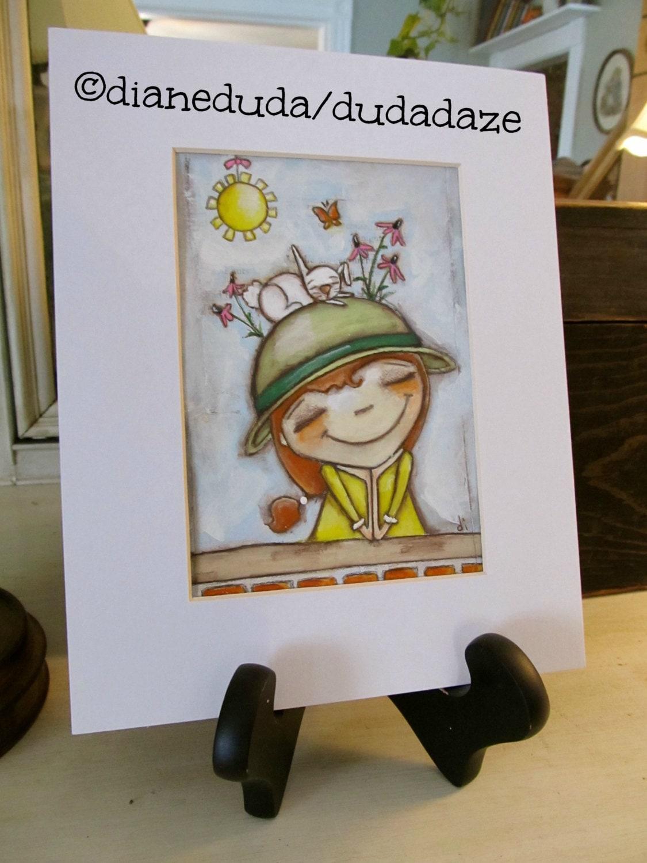 Cereal Box Art Thoughts Of Spring Original By Studiodudaart