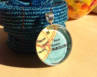 Spain Map Pendant - Vintage Map Jewelry - Map of Spain Jewelry - Barcelona Pendant CHARM ONLY