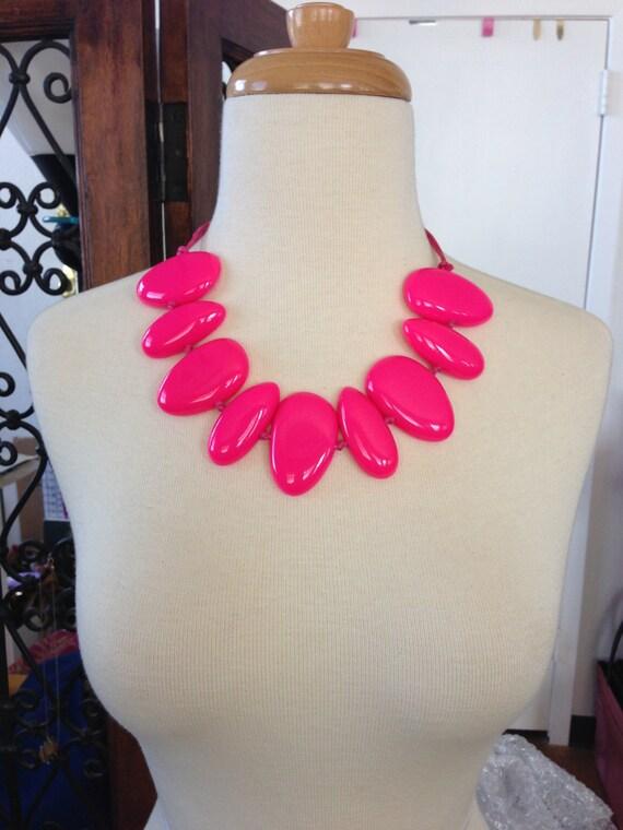 Big Bold - Cream Bubble Necklace  - Bubble Jewelry - Hot Pink Statement Necklace - Statement Necklace - Free USA Sh