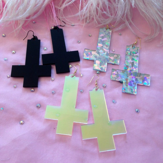 Acrylic Inverted Cross Earrings in Black, Rainbow Confetti, or Radiant