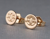 Small Gold Earrings , Gold Lotus Earrings , Stud Earrings , Yoga Jewelry