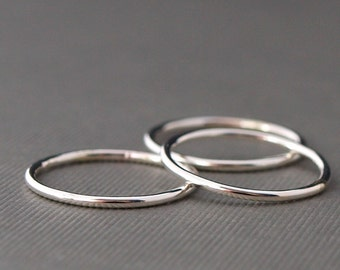 Plain Silver Ring Stack , Three Simple Silver Rings, Sterling Silver Rings