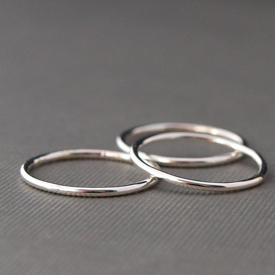 plain silver ring stack three simple silver by