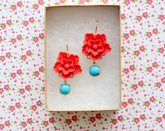 Red Flower Dangle Earrings