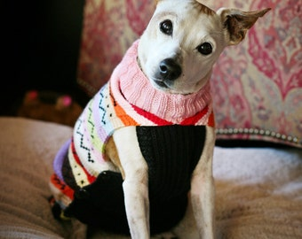 dog  sweater - dog clothes - pet sweater jacket top  - hand made - made to measure and individually crafted for a perfect fit