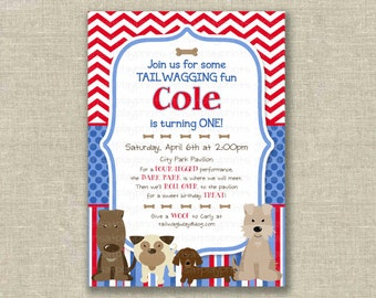 First Birthday boy 1st Invitation Invite Dog Paw Puppy Red White Blue Digital  - by girlsatplay girls at play