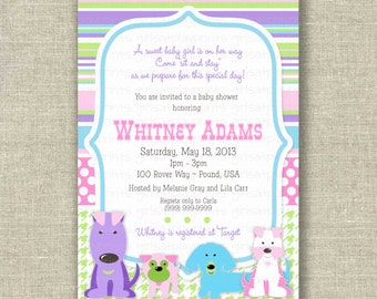 Baby Shower Girl  Invitation Puppy Dog Pink Purple Green Printable - by girlsatplay girls at play