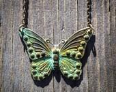 Verdigris Patina Butterfly Necklace, Monarch, Green, Spring, Summer, Flowers, Garden, Moth, Lepidoptera, Migrate, Caterpillar, Pupa, Lucky