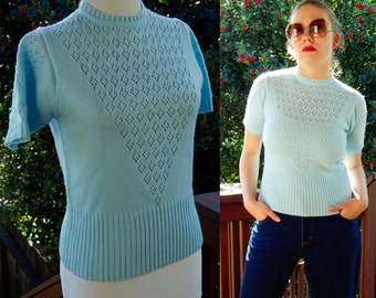 Baby BLUE 1960's 70's Vintage Acrylic Sweater with Eyelets // Short Sleeves // size small // Finest Quality
