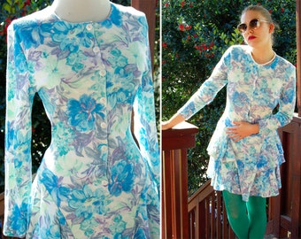 RAMPAGE 1980's 90's Vintage Teal and Purple Floral Button Down Ruffled Party Dress size Small