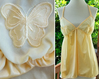 BUTTERFLY 1970's Vintage Yellow Peach Silky Satin Camisole Nightie with Appliques by Maidenform size Small