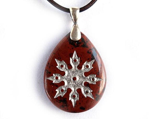Shuriken Ninja Throwing Star Necklace - Engraved Stone Pendant