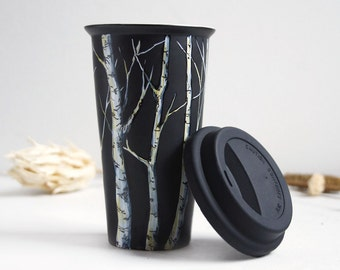 Eco-Friendly  Black Ceramic Coffee Mug - Tree Collection