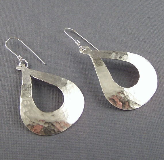 Ships within 24 hours Large Rain Drop All Sterling Silver Earrings