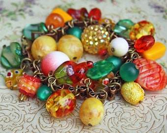 Tropical Fruit - Vintage Copper Book Chain Beaded Charm Bracelet - One of a Kind